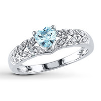 Aquamarine Heart Ring 1/20 ct tw Diamonds Sterling Silver