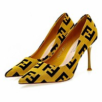 FENDI Fashionable Women Pointed High-Heeled Shoes Yellow