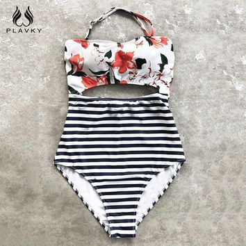 PLAVKY Sexy Halter Bandeau Floral Stripe High Waist Cut Out Trikini Swim Bathing Suit Monokini Swimwear Women One Piece Swimsuit