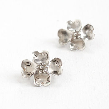 Vintage Sterling Silver Dogwood Flower Earrings - Retro Handmade Floral Statement Jewelry, Four Petal Bloom