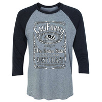 Zexpa Apparel™ California West Coast Bear 3/4 Sleevee Raglan Tee The Golden State CA Tee