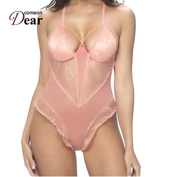Comeondear Women Ladies Clubwear Bodysuit Sexy RK80466 Transparent Fitness Jumpsuit Pink Seduction Sexy Teddy Lace Bodysuit