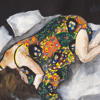 Figure Painting Art Print, Restful, Flower Dress, 11 x 14 inches, large art print