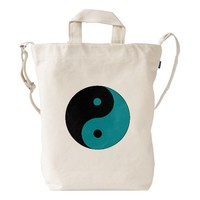 Teal Blue Green and Black Yin Yang Symbol Duck Bag