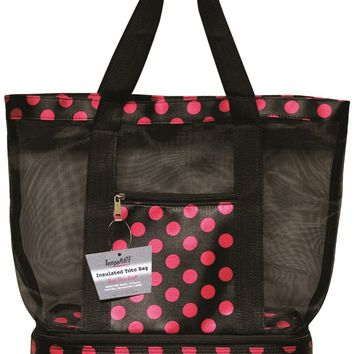 TempaMATE? Insulated Tote Bag - Black-Pink - CASE OF 10