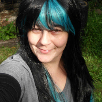 Blue and Black Wig,  Aqua wig, two tone wig, Cosplay, Long straight wig, Multicolor wig, multi color, gothic, witch, goth, teal, halloween,