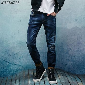 AIRGRACIAS Brand Men Jeans Dark Blue Denim Elasticity Jeans Mens Pants Biker Jeans Men Stretch Ripped Jean M Long Trousers