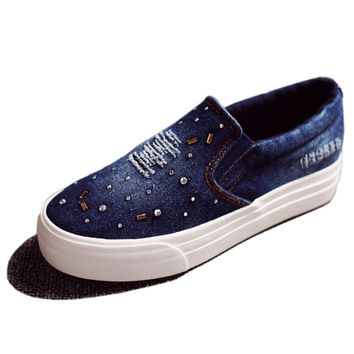 NEW 2016 Women Loafers Shoes Flats Denim Canvas Shoes Woman Casual Slip on Platform Sequined Shoes Ladies