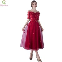 Fashion Wine Red Lace Flower Evening Dress Banquet Elegant Party Gown Short Sleeves Tea-length Formal Dress