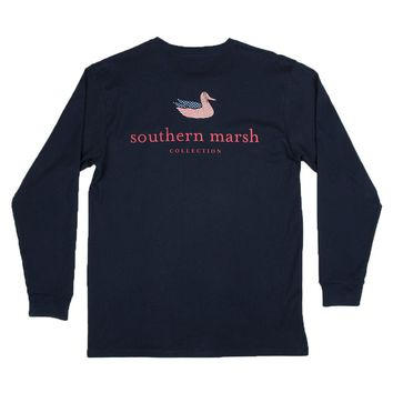 Southern Marsh LONG SLEEVE Authentic Flag Tee in Navy by Southern Marsh