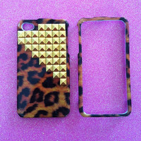 iPhone 4 4s Case  Leopard with Gold Studs by JMxSweets on Etsy