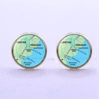 Cuff links-Vintage Map cufflinks,Antique URUGUAY  Map  cufflinks,Father Day gift,Mother gift,Men cufflinks
