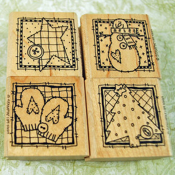 """Stampin Up Stamp Set, MINT Stampin Up  """"Winter Patches"""" RETIRED 1997, Never Used Scrapbooking Cardmaking Tag Making Crafts"""