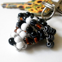 Bernese Mountain Dog Beaded Keychain