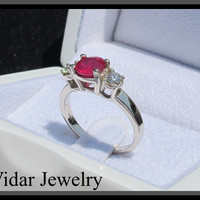 3 Stones Ring-Ruby And Diamonds Engagement Ring | Vidar Jewelry - Unique Custom Engagement And Wedding Rings