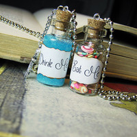 Eat Me / Drink Me Glass Bottle Necklace Set - Glow in the Dark Alice in Wonderland Cork Vial Pendant Charms
