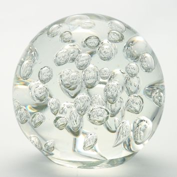 4.5 inch Clear White Ball Paperweight