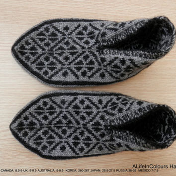 Turkish hand knitted men's gray and black colour unique slippers, slipper socks.