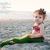 Crochet Mermaid Tail, Newborn Photo Prop 3 Piece Set 6-9 and 9-12 months - Made to order
