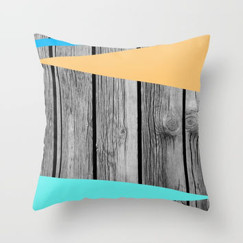 Colors On Monochrome Wood Throw Pillow by ARTbyJWP