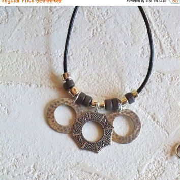 Asian Necklace, Silver Asian Window Statement Necklace, Asian Window Pendant Necklace, Ethnic, Asian Jewelry, Men's Asian Necklace
