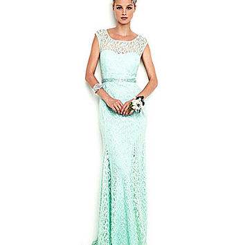 Sequin Hearts Cap-Sleeve Lace Gown | Dillards.com