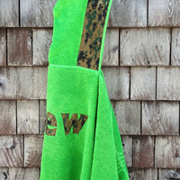 Boys Personalized Hooded Towel Boy Green Camo Fabric Pool Bath Beach Towel Kids Children's Gift