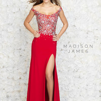 Off The Shoulder Madison James Prom Gown 15-161