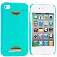 Importer520 Clip-on Case w/ Business Card Holder Compatible With Apple® iPhone® 4 / 4S (AT&T, Verizon, Sprint) (Sea Green)