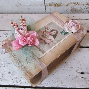 Large thick book tattered bundle embellished w/ French postcard millinery flowers ephemera antique farmhouse home decor anita spero design