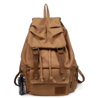 AM Landen Rucksack Canvas Backpack Genuine Leather Straps(BROWN)