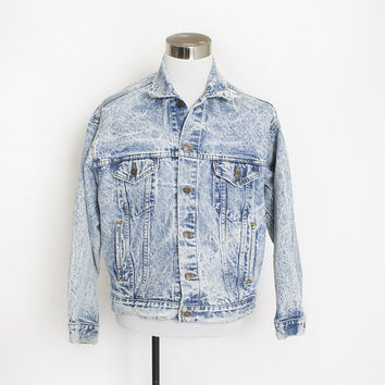Vintage LEVI'S Denim Jacket - 1980s Acid Wash Blue Jean Jacket - Large / XL 48""