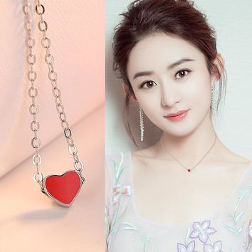 New Arrival Gift Jewelry Shiny Korean 925 Silver Pendant Heart-shaped Stylish Necklace [11618158548]