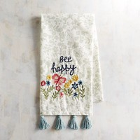 Bee Happy Floral Tea Towel