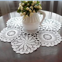 Vintage  look  crocheted  table cloths  24 In. Round