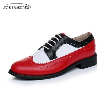 1f88fdc12bb Genuine leather big woman US size 11 designer vintage flat shoes round toe  handmade red white