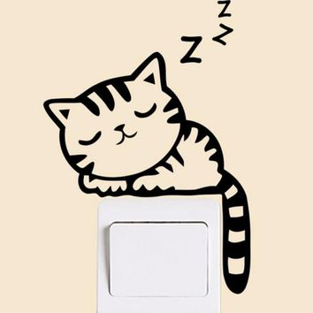 KAKUDER Cartoon Removable Black Sleeping Cat Switch Wall Sticker Vinyl Decal Home Decoration Kid Interest Happy Sale ap424