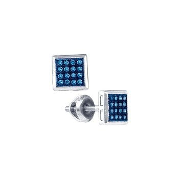 10k White Gold Womens Blue Colored Diamond Square Cluster Screwback Stud Earrings 1/10 Cttw