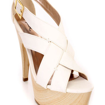 White Strappy Faux Wooden Platform Heels Faux Leather