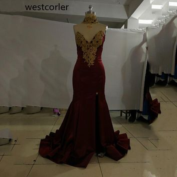 vestido de festa Burgundy Mermaid Prom Dress With Lace Appliques Deep V-Neck Sexy Side Slit Long Prom Dresses Party Gowns