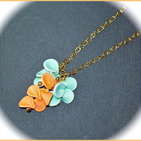 Necklace Pendant Polymer Clay Flower Petals  Pastel Rainbow Aqua Orange Sherbet 20 in. long