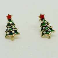 Green Christmas Tree Shaped Earrings with Rhinestones