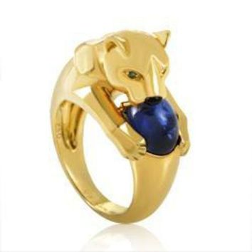 PEAP Cartier Panthere Yellow Gold Sapphire Ring