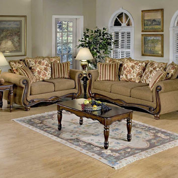 Macy Chestnut Wood Apron sofa and loveseat by Serta Upholstery
