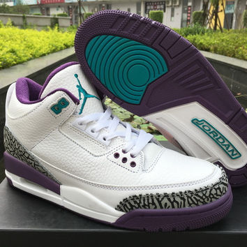 "Nike Mens Air Jordan 3 Retro ""Charlotte Hornets"" Leather Basketball Shoes"