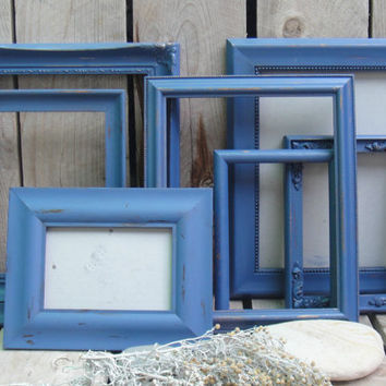 Blue Shabby Frame Set- Frame Collage - Chalk Paint - Set of 7 - Distressed - Up Cycled Beach House Cottage Chic Decor