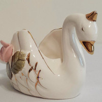 Swan Figurine Vintage Ashtray Collectible Swan Trinket Box Pink Roses Gold Ucagco Japan