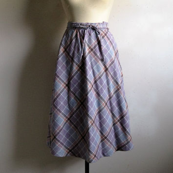 70s Pastel Plaid A-line Skirt Vintage 1970s Mauve Acrylic Midi Plaid Day Skirt Xsmall
