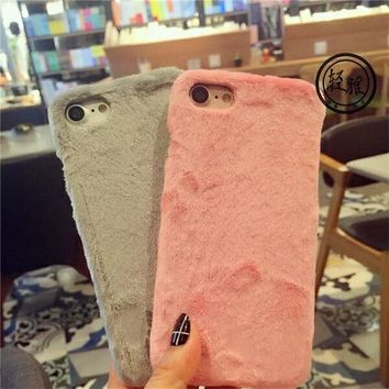 High Quality Luxury Warm Rabbit Fur Hair Cloth Plush Fundas Phone Case For iPhone 5 5S SE 6 6S 7 Plus Hard Back Cover Cases