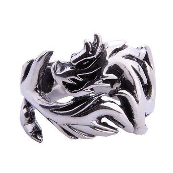 Chinese Dragon Totem Ring for Men's Fashion Jewelry .925 Thai Silver Jewelers-Size 8